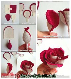 Hoasenda - Welcome My Page Flower - Diy Crafts Paper Flower Patterns, Paper Flower Art, Tissue Paper Flowers, Paper Flower Tutorial, Flower Crafts, Handmade Flowers, Diy Flowers, Fabric Flowers, Paper Crafts Origami