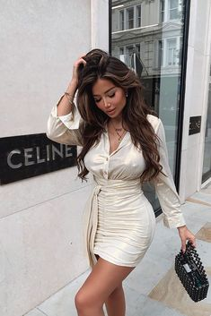 Look Good Feel Good Satin Mini Dress - Silver – Fashion Nova Classy Outfits, Girl Outfits, Cute Outfits, Fashion Outfits, Dress Fashion, Pretty Outfits, Fashion Tips, Looks Chic, Looks Style