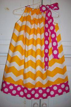 Pillowcase Dress Chevron dress Strawberry Lemonade Party Yellow and Hot Pink Dots baby dress toddler dress girls dress Summer Dress
