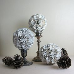 Ball of Stars - Origami Kusudama Ornament - Eco Decor - Recycled Paper Pedestal Stand, Centre Pieces, Paper Decorations, All Design, Paper Art, Origami, Recycling, Sculpture, Ornaments