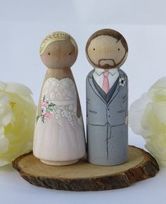 Wedding Cake Toppers// Peg Dolls Custom Wedding by MaketheScene