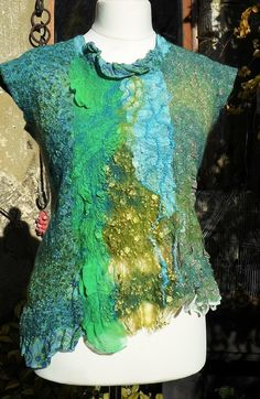 tunic felt nuno, sleeveless, in shades of green, closed in the back by a link on Etsy, £161.12
