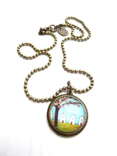 ball chain necklace with white houses (S-325b) van Dome's Design op DaWanda.com