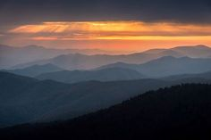 A breathtaking sunset in the Smoky Mountains