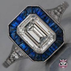 Art Deco Engagement Ring - GIA Cert. Emerald-cut Diamond