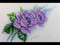 Método Prático de Pintura em Tecido - Rosas Lilás - YouTube