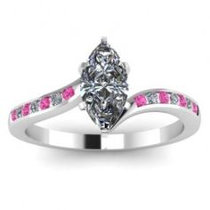 Marquise Pink Sapphire Diamond Engagement Ring