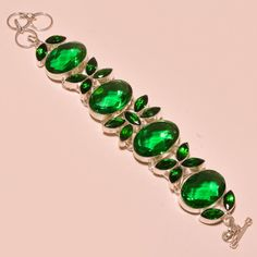 """Green Tourmaline & Chrome Diopside New Arrival .925 Silver Bracelet S. 7 To 9"""" #Handmade #Chain"""
