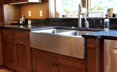 Barclay Dixon Double Bowl Stainless Farmer Sink.  Home design by Phil Jenkins of Martin Bros. Contracting, Inc.; general contracting by Martin Bros. Contracting, Inc.; photography by Marie Kinney Photography.