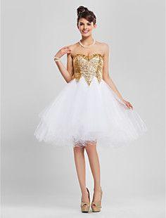 бальное платье возлюбленной длиной до колен блестками и тюль... – RUB p. 5 338,35
