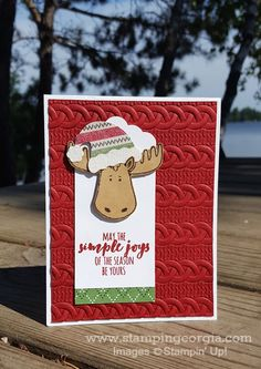 by Georgia: Jolly Friends, Christmas Pines, Warmth & Cheer dsp stack, Dazzling Diamonds Glimmer Paper, Cable Knit embossing folder, Jolly Hat Punch - all from Stampin' Up!