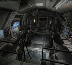 Futuristic Interior, Cyberpunk Atmosphere, Avatar concept art by Ryan Church Spaceship Interior, Futuristic Interior, Spaceship Design, Spaceship Concept, Cyberpunk, Aliens, Avatar, Sci Fi Ships, A Level Art