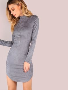 Online shopping for Mock Neck Suede Bodycon Dress GREY from a great selection of women's fashion clothing & more at MakeMeChic.COM.