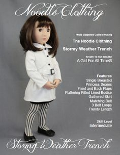 This item is a digital PDF pattern to make the Noodle Clothing Stormy Weather Trench sized for 16 inch slim dolls like A Girl For All Time®.  The
