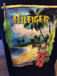 Vintage Tommy Hilfiger 1985 Graphic Surf Palm Beach T-shirt Medium Black Tiki Bamboo Hawaii by KoolKoolThangs on Etsy