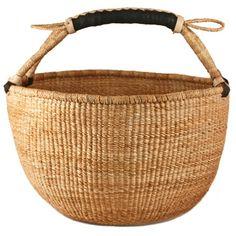 Basic Bolga Basket $42 fair trade Market Basket woven leather handle round