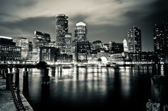Boston Skyline Black And White . Boston Skyline, In Boston, Boston Strong, Night City, Best Cities, East Coast, New England, Places To See, Beautiful Places