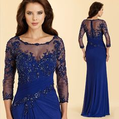 Blue Plus Size 2017 Mother of The Bride Dresses with Sleeves Appliques Lace Beaded Sheath Sexy Long Women Evening Party Gowns