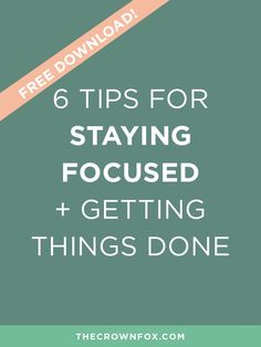 Small business owners wear 700 hats, how can we manage it all? Here are six tips to help you stay focused and get things done! Talk about #motivationmonday right? Producitivty is essential to business growth. Click through to read how you can make more time! | The Crown Fox | http://www.TheCrownFox.com | Branding + Business | Staying Focused, Productivity Tips