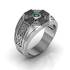 Celtic Cross Ring - Mens Sterling Silver Emerald Ring Metal: .925 Sterling Silver Emerald: Natural Emerald Emerald Quality: AA