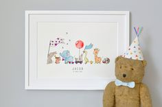 Animals on Parade, Nursery Art Picture, Giclée Print, baby's bedroom Illustration, New baby, Children's decor, Can be personalised by DaisyandBumpArt on Etsy
