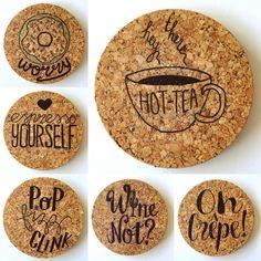 DIY coasters cork - handlettering