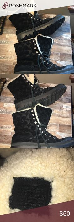 Authentic Winter Coach Ankle boots Fur lined Coach combat boots! Black Suede on the outside.  Boots are very lightly worn with no dirt or scratches to the toes! Coach Shoes Ankle Boots & Booties
