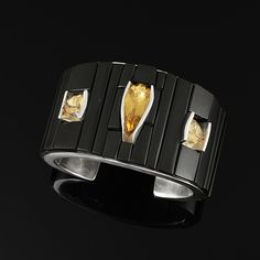 Black Jade and Citrine Inlaid Cuff by Michael Garcia Na Na Ping | Contemporary Native American Jewelry | Yaqui | wrightsgallery.com
