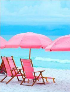 Pink Beach chairs and pink umbrella Pink Umbrella, Beach Umbrella, Pink Beach, Beach Bum, Pink Ocean, Playa Beach, Beach Gear, Parasols, I Love The Beach