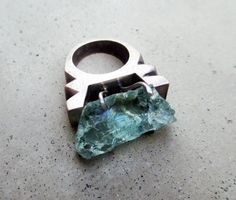 Sulvia Peliso - Aquamarine Ring, One of a Kind, Lost Wax Cast, Big Statement Ring, Throat Chakra Crystal, Protective Stone for Travelers, Mixed Metal