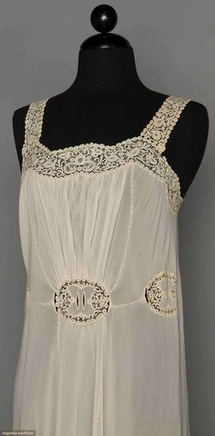 CHIFFON NEGLIGEE SETS, 1930-1940  Both silk w/ matching bolero jackets: 1 powder blue w/ white lace & embroidery, (small stains) excellent; 1 white w/ handmade rosaline lace