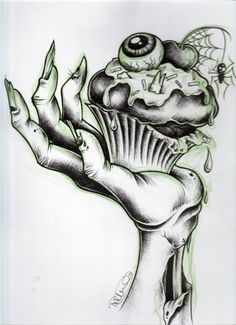Zombie cupcake tattoo illustration I LOVE THE CUPCAKE! To add to my other cupcake tattoos. Mayhaps in color on my right side? Cupcake Tattoo Designs, Cupcake Tattoos, Tattoo Drawings, Body Art Tattoos, Hand Tattoos, Art Drawings, Tatoos, Zombie Drawings, Key Tattoos