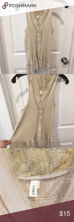 Cream Anthropologie vest Delicate cream vest with lace detail and fraying. Size small from Anthropologie. Can be worn over a dress, tank top, or long sleeve. Very versatile! Anthropologie Tops Tank Tops