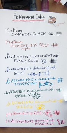 Selection of permanent or 'bulletproof' inks