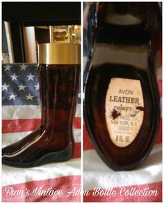 Vintage Avon Boot Leather Cologne Brown Glass Bottle Decanter