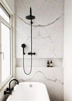 Bathroom with marble & black