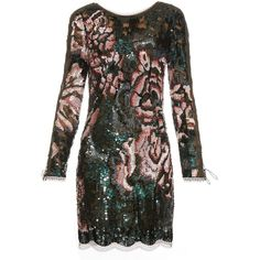 Roberto Cavalli Long-sleeved sequin-embellished mini dress ($4,280) ❤ liked on Polyvore featuring dresses, roberto cavalli, green multi, sequin mini dress, floral print cocktail dress, long sleeve mini dress, short sequin dress and flower print dress
