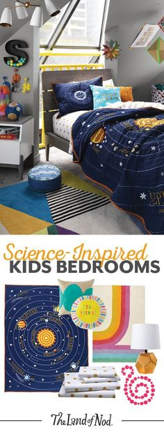We're over the moon for science-inspired kids bedrooms. Start with a solar system printed bedding set—we have a feeling girls and boys alike will love the colorful planets and stars. Then, add a colorful rug and decor to bring this outer space-themed bedroom together.