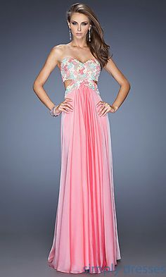 Shop for long strapless prom dresses by La Femme at  Simply Dresses. Strapless sweetheart open back prom gowns for formals.