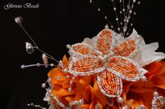 Orange Beaded Flower Bouquet by Glorious Beads~ http://stores.ebay.com/Glorious-Beads-Wedding-Flowers