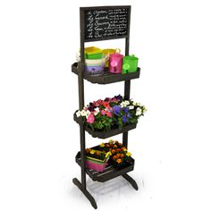 Wooden Three Shelf Store Display With Chalkboard