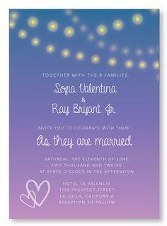 Dawns fireflies wedding invitation.