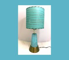 Reserved for David // Atomic MOD 1960s TABLE LAMP - Turquoise Blue with Matching Parchment Shade // Free Shipping