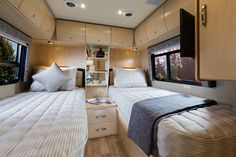 Leisure Travel Vans - Unity - Floorplans with twin beds. Tiny House Big Living, Rv Living, Small Living, Living Area, Leisure Travel Vans, Camping Con Glamour, Tiny Home Cost, Camper Twins, Camp Gear