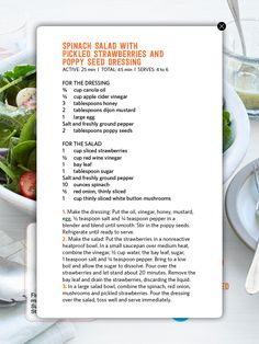 Pin by tiffani doherty on magazine recipes pinterest recipe spinach salad with pickled strawberries and poppy seed dressing forumfinder Choice Image