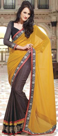 Mustard and #Brown Faux Georgette #Saree with Blouse @ $56.17