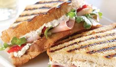 Layered with smoked turkey and ham and smothered with flavorful, creamy Boursin Garlic & Fine Herbs Cheese, this panini recipe hits the spot every time. Boursin Recipes, Panini Recipes, Ham Recipes, Appetizer Recipes, Cooking Recipes, Appetizers, Cheese Recipes, Healthy Recipes