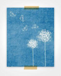 Dandelions in Blue Art Print by Riverwaystudios on Etsy