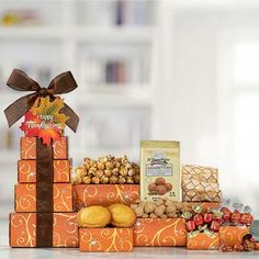 Thanksgiving Gift Baskets - Thanksgiving Tower Holiday Gift Baskets, Holiday Gifts, Thanksgiving Gifts, Xmas Gifts, Thanksgiving Favors