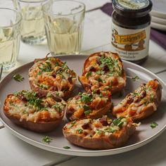 Baked Sweet Potatoes with unearthed® Chorizo, Manchego and Tracklements Original Onion Marmalade Manchego Cheese, Chicken Patties, Sausage Rolls, Love Eat, Honey Mustard, Marmalade, Chorizo, Bruschetta, Salmon Burgers